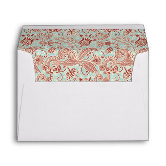 Red Floral on Pistachio Green Background Envelope