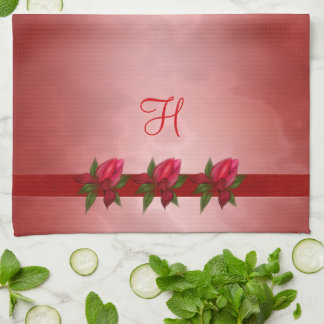 Red Floral on Red Monogram Kitchen Towel