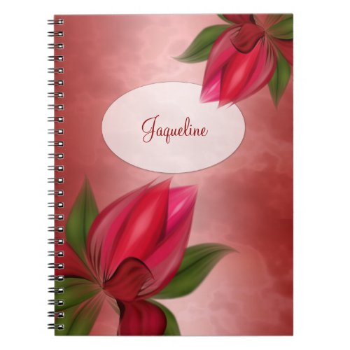 Red Floral on Red Monogram Notebook