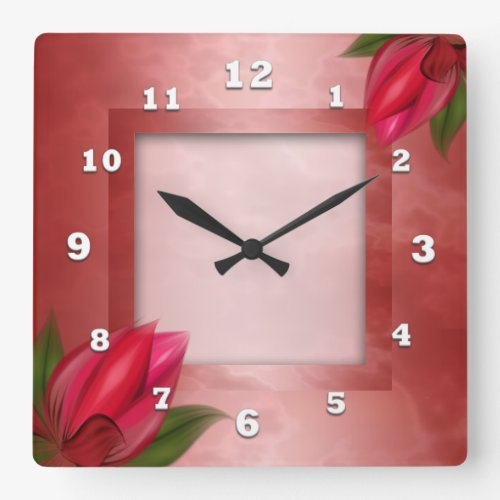 Red Floral on Red Square Wall Clock
