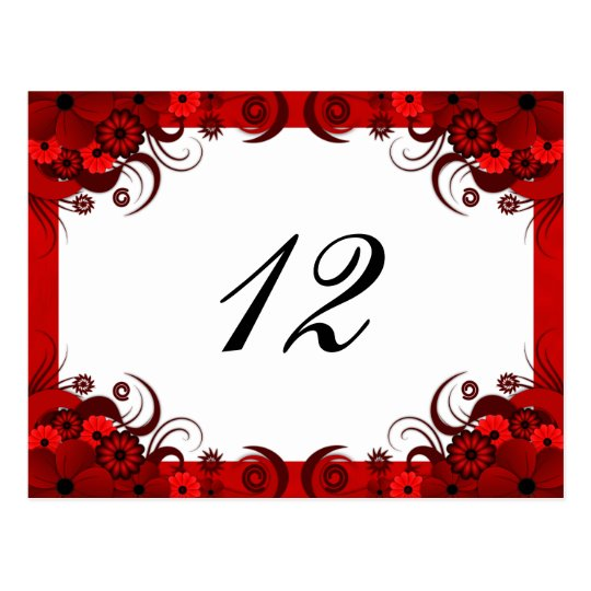 Red Floral on White Reception Table Number Cards