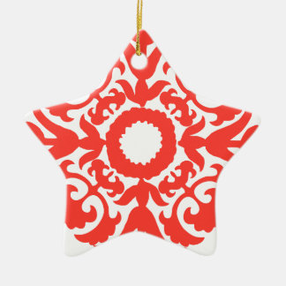 Red Floral Ornate Flourish Embellishment Pattern Double-Sided Star Ceramic Christmas Ornament