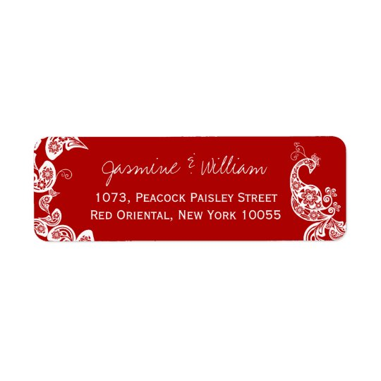 Red Floral Paisley Peacock Elegant Chic Weddding Label