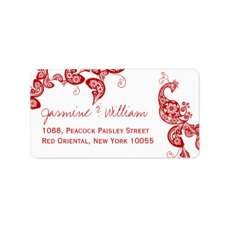 Red Floral Paisley Peacock Wedding Address Labels