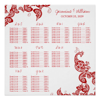 Red Floral Paisley Peacock Wedding Seating Chart Poster