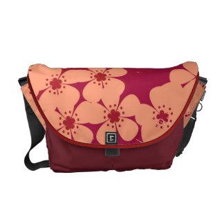 Red floral pattern grunge vintage messenger bag