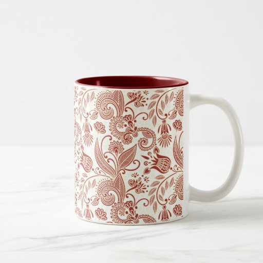 Red Floral Pattern Two-Tone Coffee Mug