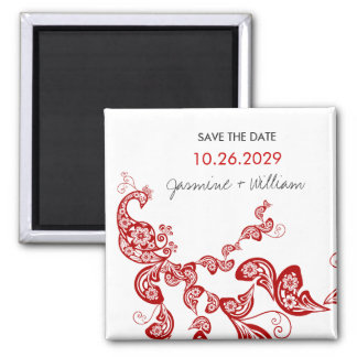 Red Floral Peacock Custom Save The Date Magnet