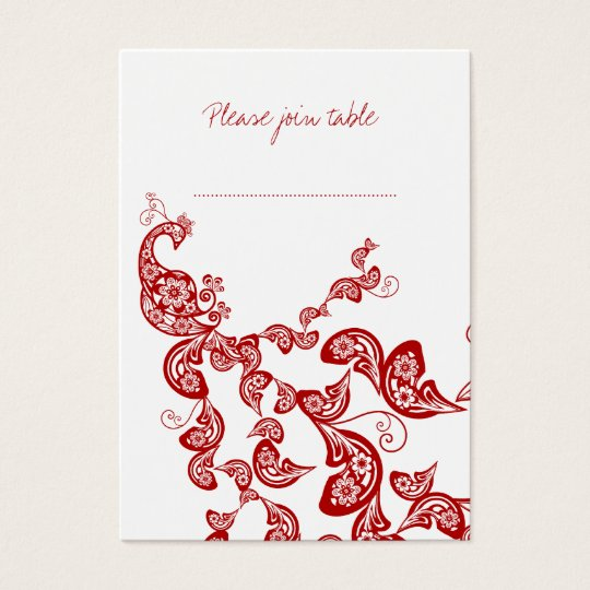 Red Floral Peacock Custom Wedding Place Card
