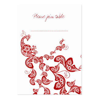 Red Floral Peacock Custom Wedding Place Card Large Business Cards (Pack Of 100)
