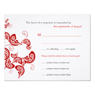 Red Floral Peacock Custom Wedding RSVP Reply Card