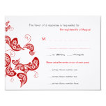 Red Floral Peacock Custom Wedding RSVP Reply Card Custom Announcements