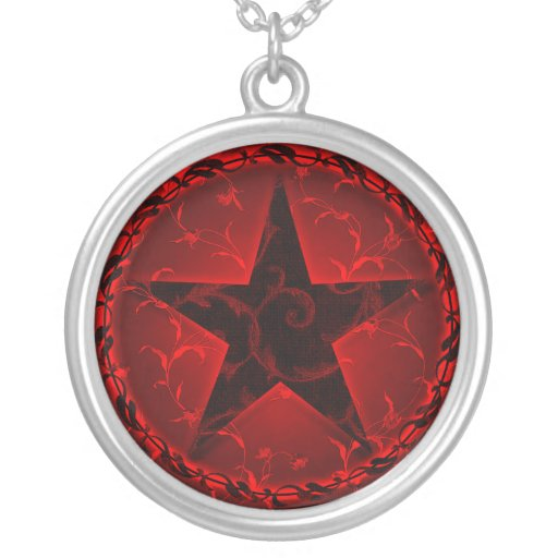 'Red Floral Pentacle' Necklace