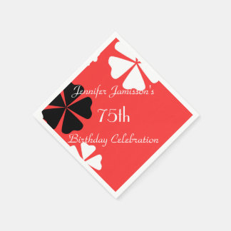 Red Floral Personalized 75th Birthday Party Paper Napkin