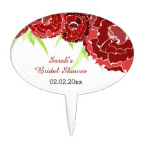 red floral Personalized Cake Picks