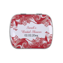 red floral personalized candy tins