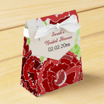 red floral personalized favor boxes