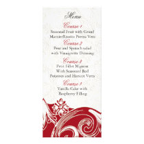red floral Personalized Menu cards