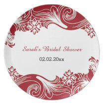 red floral Personalized Plate