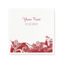 red floral personalized wedding napkins