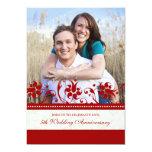 """Red Floral Photo 5th Anniversary Invitation 5"""" X 7"""" Invitation Card"""