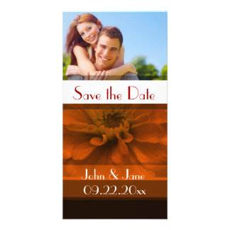 """Red Floral  /photo  """"Save the Date"""" Photo Card"""