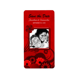 Red Floral Photo Save The Date Wine Labels Custom Address Label