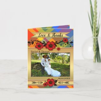 Red Floral Plaid Wedding Photo Thank You Note Card