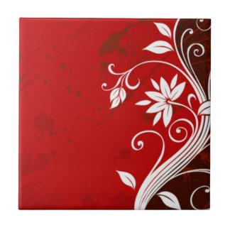 Red Floral Retro Tile
