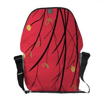 Red Floral Rickshaw Messenger Bag