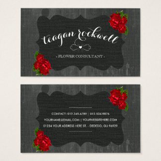 Red Floral Roses Wood Gothic Business Card