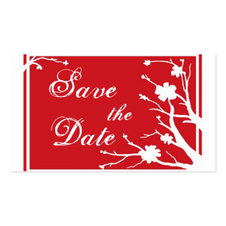 Red floral Save the Date business cards