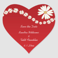 Red Floral Save the Date Sticker