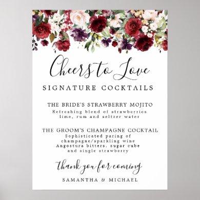 Red Floral Signature Cocktails Wedding Bar Sign