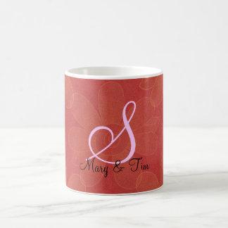 Red Floral Splendor- Monogram: Coffee Mugs