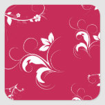 Red floral square sticker