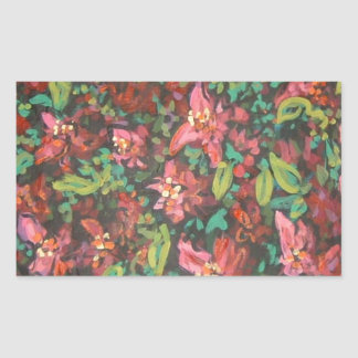 red floral rectangle sticker