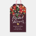 Red Floral String Lights Bridal Shower Thank You Gift Tags