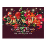 Red Floral String Lights Gold Script Save The Date Postcard