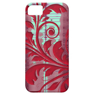 Red Floral Swirls iPhone SE/5/5s Case