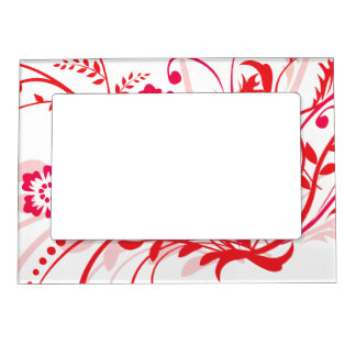 Red Floral Swirls Mother's Day Magnetic Photo Frame