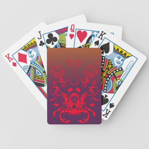 Red Floral Swirls Playing Cards