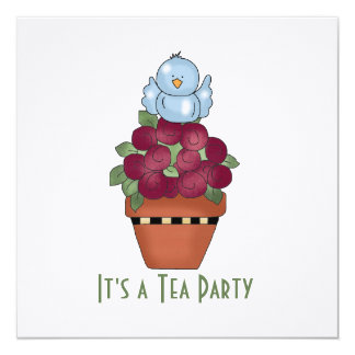 Red Floral Tea Party Invitation