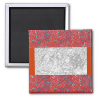 Red floral template magnet