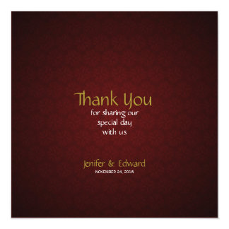 Red Floral Texture Square Thank You Card