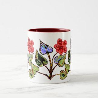 Red Floral Two-Tone Coffee Mug