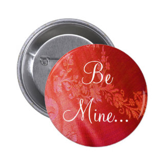 Red Floral Valentine Button - Customizable