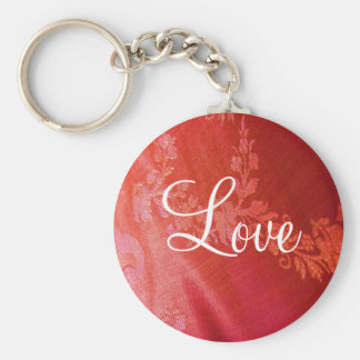 Red Floral Valentine Keychain - Customizable