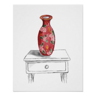 Red Floral Vase Watercolor Still Life Poster Print