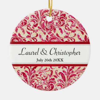Red Floral Vintage Damask Pattern Save the Date Ceramic Ornament